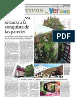 Publicación de jardines verticales Urbanarbolismo en diario 5 días