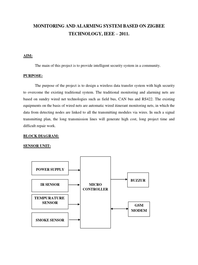 Monitoring And Alarming System Based On Zigbee Technology Wireless Micro Monitor Wiring Diagram Computer Network