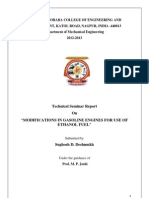 Seminar Report on Modifications for Ethanol Engines