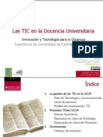 Las TIC en la Docencia Universitaria. Innovación y Tecnología para la Docencia