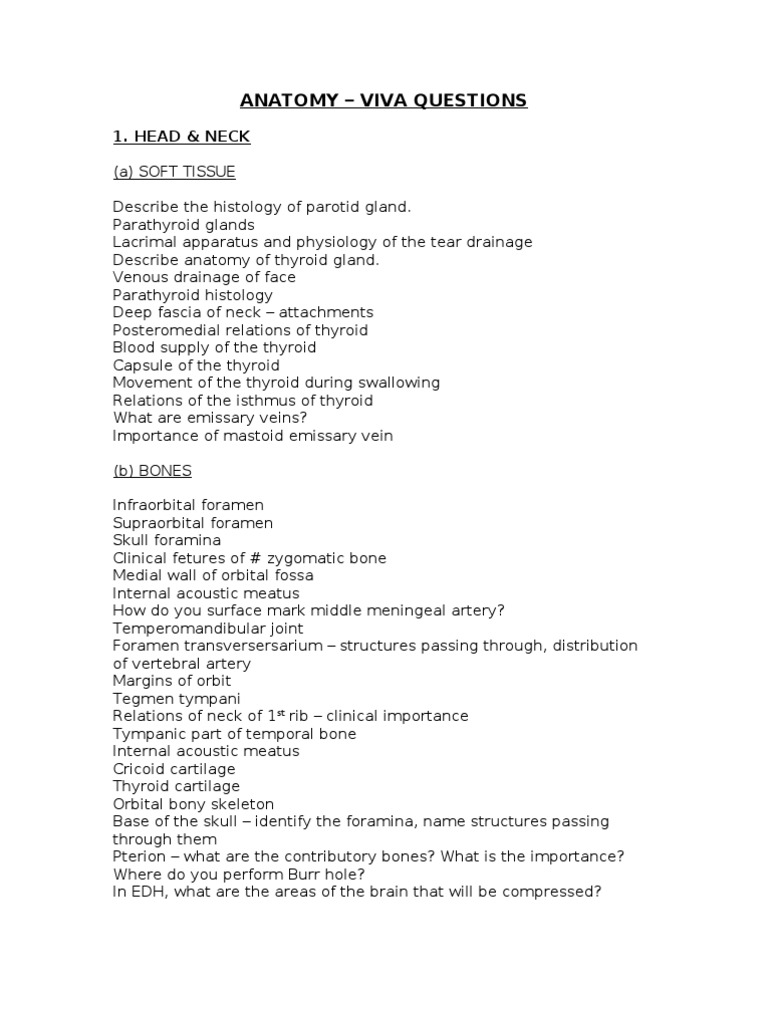 Anatomy Viva Skull Vertebra