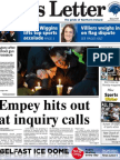 Belfast News Letter front page Monday December 17, 2012