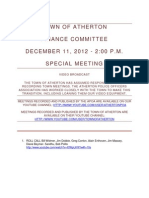 Town of Atherton Finance Committee Special Meeting Dec 11 2012