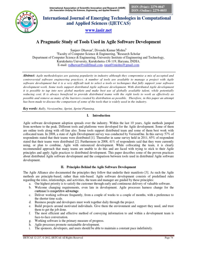popular tool used in agile software development