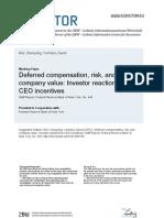 Deferred Compensation, Risk, And Company Value