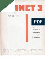 Carnet 3 - Mars 1931, par Carlo Suarès