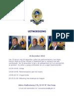 UITNODIGING 18 December 2012 Parlamentariers