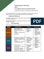 Clase.- Etiqueta y Protocolo, Servicios, Montaje y Menaje
