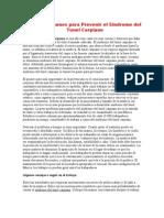 Métodos Comunes para Prevenir el Sindrome del Tunel Carpiano