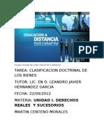 CLASIFICACION DOCTRINAL DE LOS BIENES
