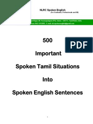 500 Important Spoken Tamil Situations Into Spoken English Sentences Sample