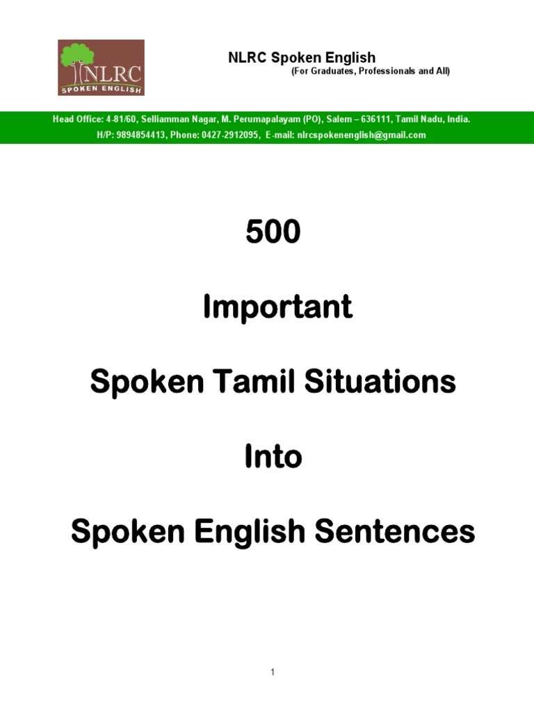 500 Important Spoken Tamil Situations Into Spoken English