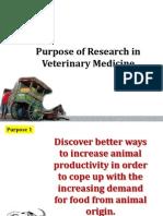 Purpose of Research in Veterinary Medicine
