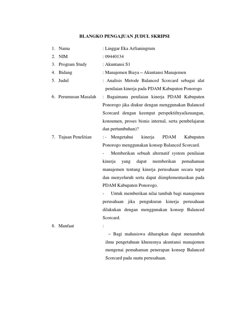 Contoh Proposal Pengajuan Judul Skripsi Manajemen Keuangan