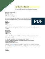 Fundamentals of Nursing Exam 1