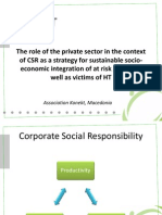 The role of the private sector in the context of CSR as a strategy for sustainable socio-economic integration of at risk groups as well as victims of HT