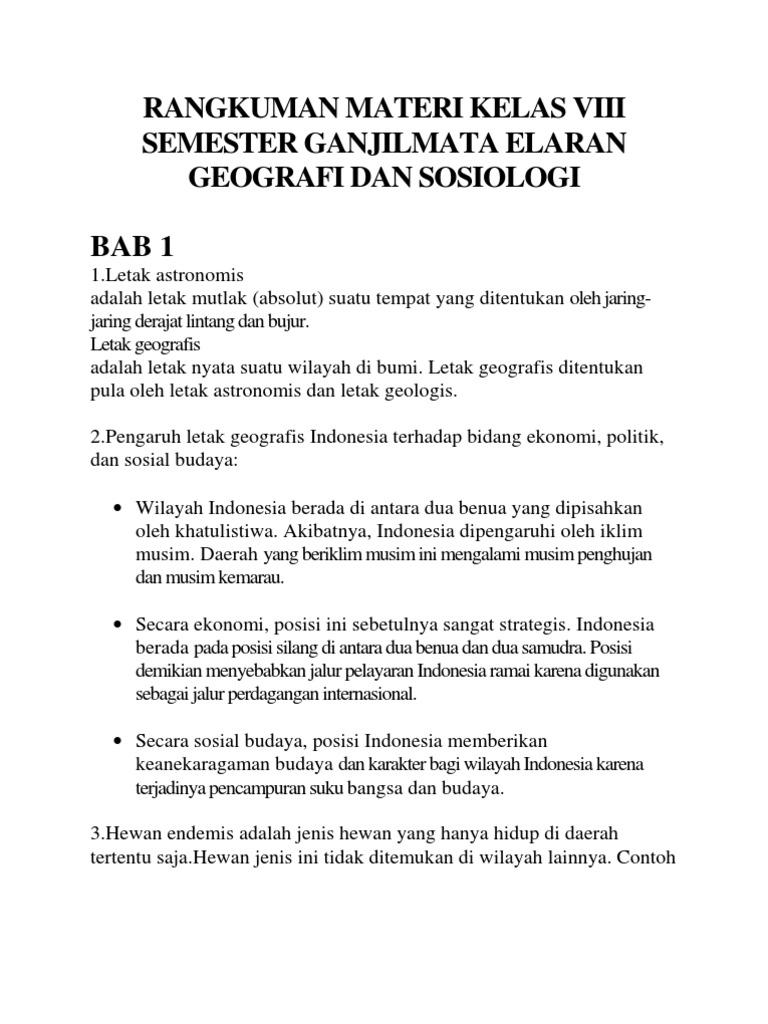 Rangkuman Ips Kelas 8 Semester 1 Bab 1 2 3 4