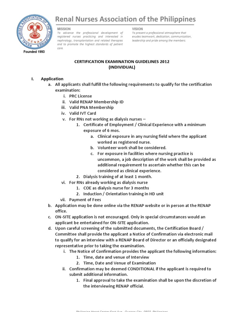 RENAP Certification Guidelines   Nursing   Nephrology