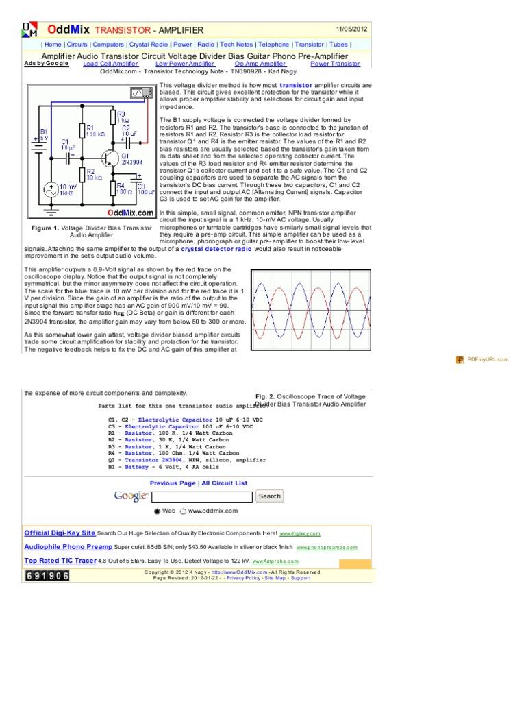 Amplifier Audio Transistor Circuit Voltage Divider Bias Guitar Phono Pre