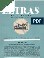 Letras de Sinaloa No. 26 Julio de 1951