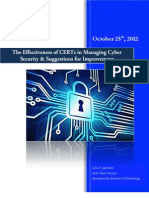 The Effectiveness of CERTs in Managing Cyber Security & Suggestions for Improvement