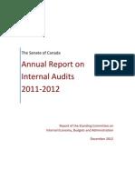 Senate of Canada Annual Report on Internal Audits 2011-2012