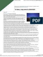'Peak Farmland'is Here, Crop Area to Diminish- Study