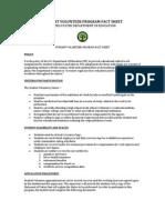 Student Volunteer Fact Sheet 2012