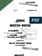 Special Series No 21 - German Mountain Warfare (29 feb 1944)