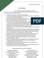 Declaración Oficial Médicos EGRESADOS 2012 CHILE