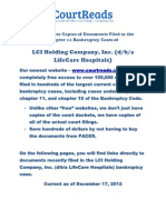 Links To Free Copies Of Documents Filed In The Chapter 11 Bankruptcy Cases Of LCI Holding Company, Inc. (D/B/A LifeCare Hospitals)