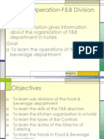 Hotel Operation F&B Division