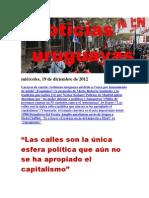 Noticias Uruguayas miércoles 19 de diciembre del 2012