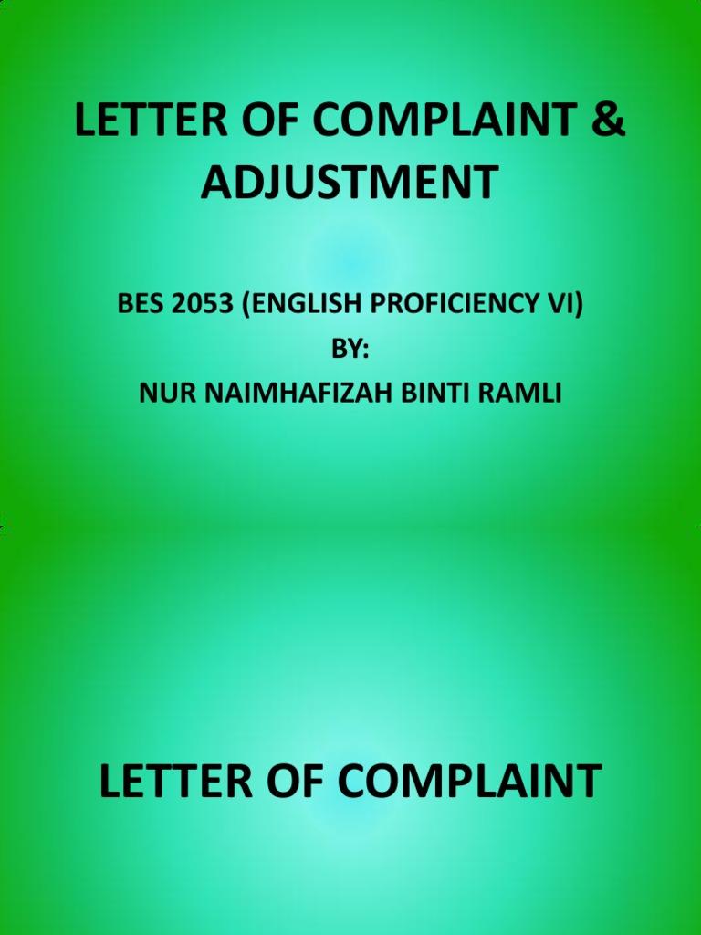 Letter Of Complaint Adjustment Empathy Business