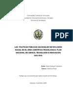Las Políticas Públicas Nacionales de Inclusion Social en El Area Cientifico Tecnológica. Mario S. Camacho