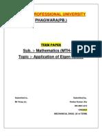 Termpaper-Applications of Eigen Values-math