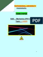 Termpaper Laser Physics
