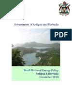 Antigua and Barbuda, Draft National Energy Policy, 12-2010