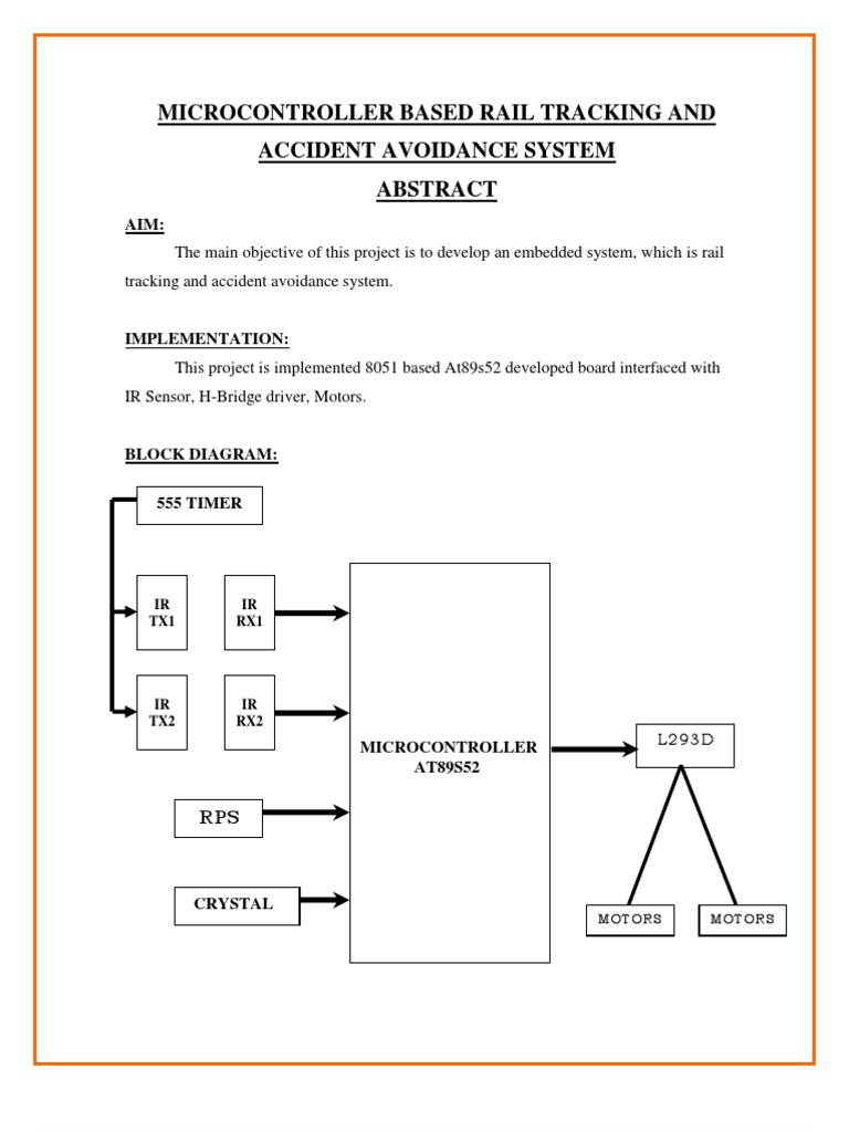 Microcontroller Based Rail Tracking And Accident Avoidance System H Bridge Block Diagram Embedded