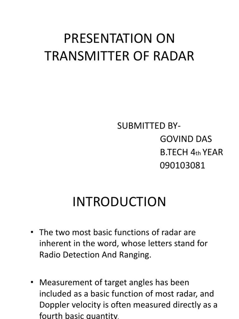 Presentation on Transmitter of Radar Ppt | Amplifier | Power