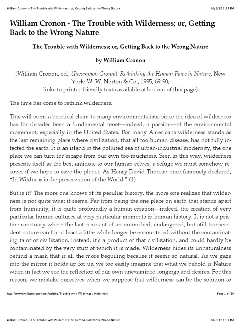 trouble with wilderness essay