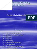 Intertnational Marketing Management_foreign Market Entry Stratigies