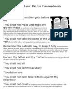 God's Ten Laws - The Ten Commandments