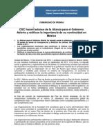 Comunicado de prensa - Alianza para el Gobierno Abierto (AGA)