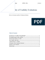 Reliability of Usability Evaluations