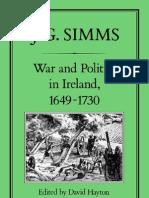 War and Polotics in Ireland 1649 - 1730