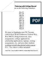college cafe tutoring with college bound will meet at 9am on the following saturdays