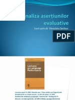 Analiza asertiunilor evaluative