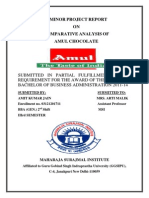 MINOR PROJECT REPORT ON marketing Strategy of Amul Choclate BBA