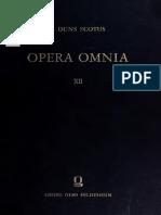 Johannes Duns Scotus Opera Omnia Volume 12